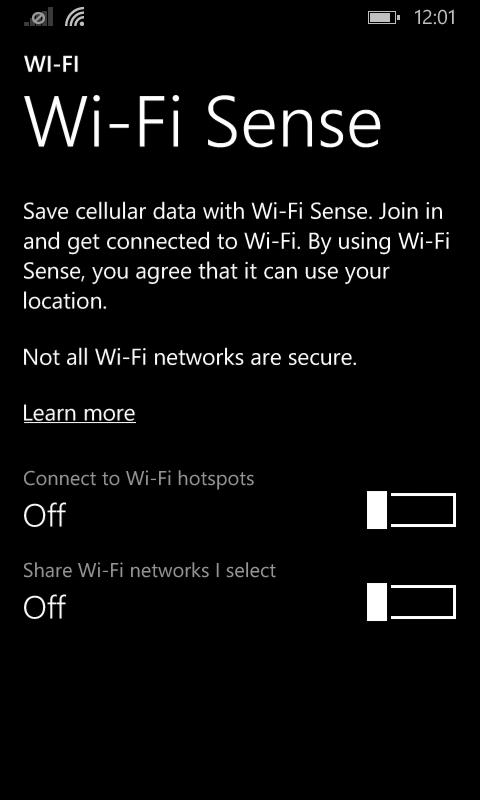 WiFi Sense Settings