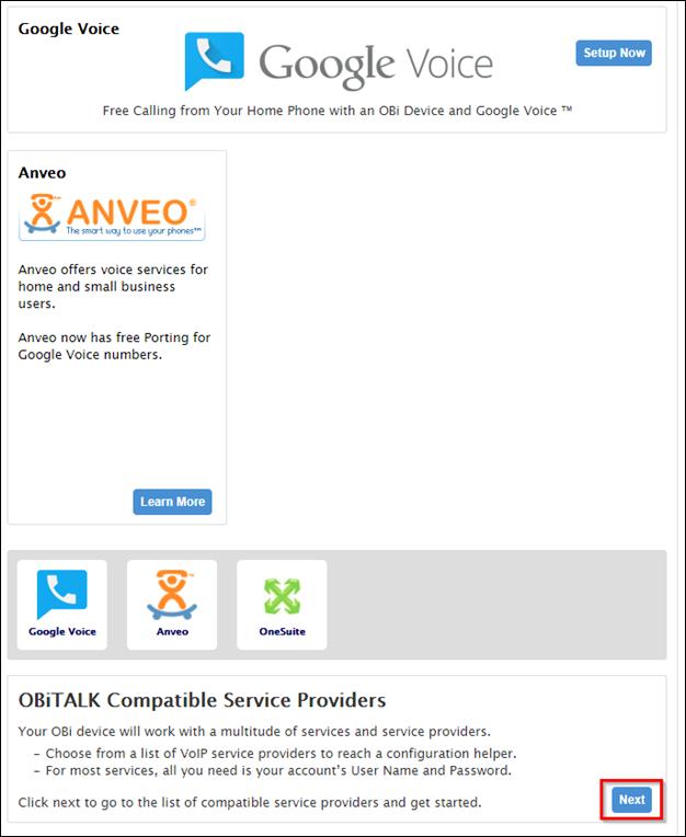 OBi TALK Compatible Service Providers