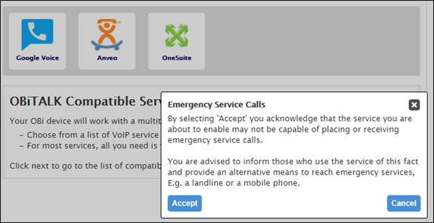 Emergency Service Calling Notice