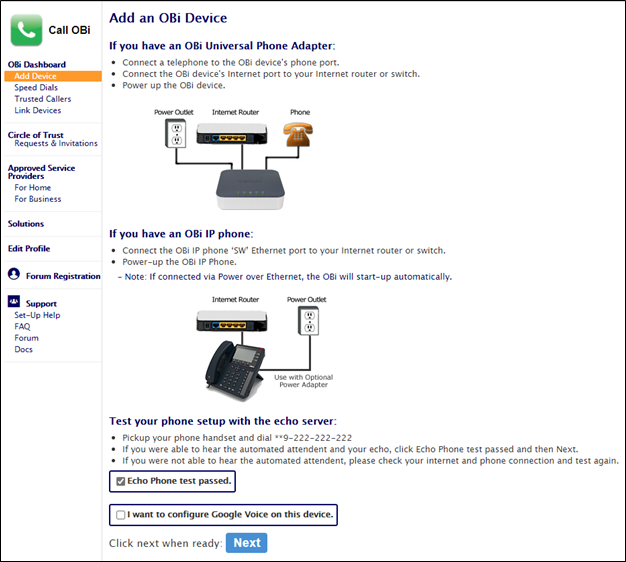 Add an OBi Device